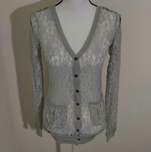 Rue21 Sheer Lace Gray Button Cardigan New S